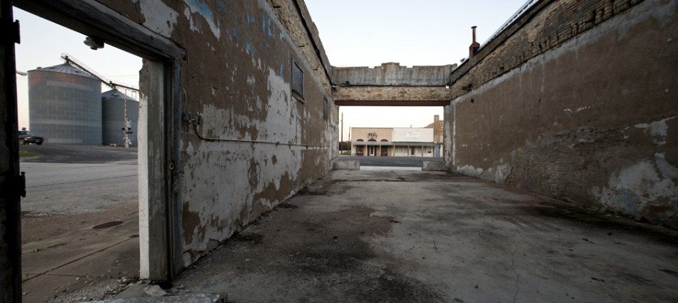 151103 THORNDALE, TEXAS:  Downtown Thorndale, Texas is pictured on Tuesday, November 3, 2015.  This is a long-hollowed out structure on Main Street.   According to a local resident taking a stroll through town, the area once was  a bar, but it's been dormant for many years.   Thorndale is a town in Milam County, Texas, with a population of just over 1300.   Photo by Andy Sharp.