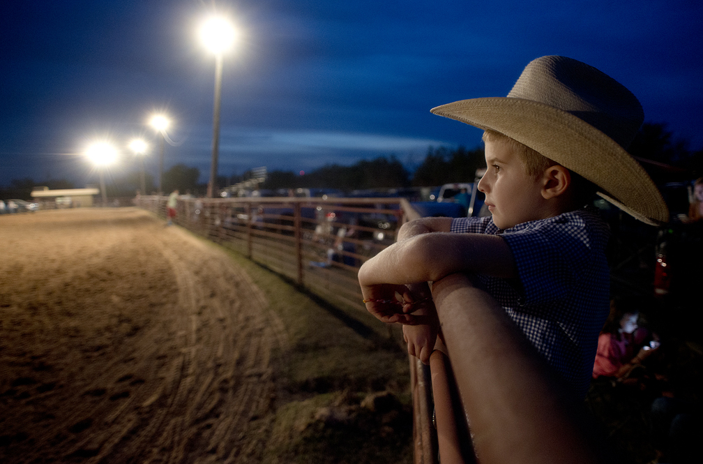 A young fan at the Clayman Rodeo in Georgetown, Texas.