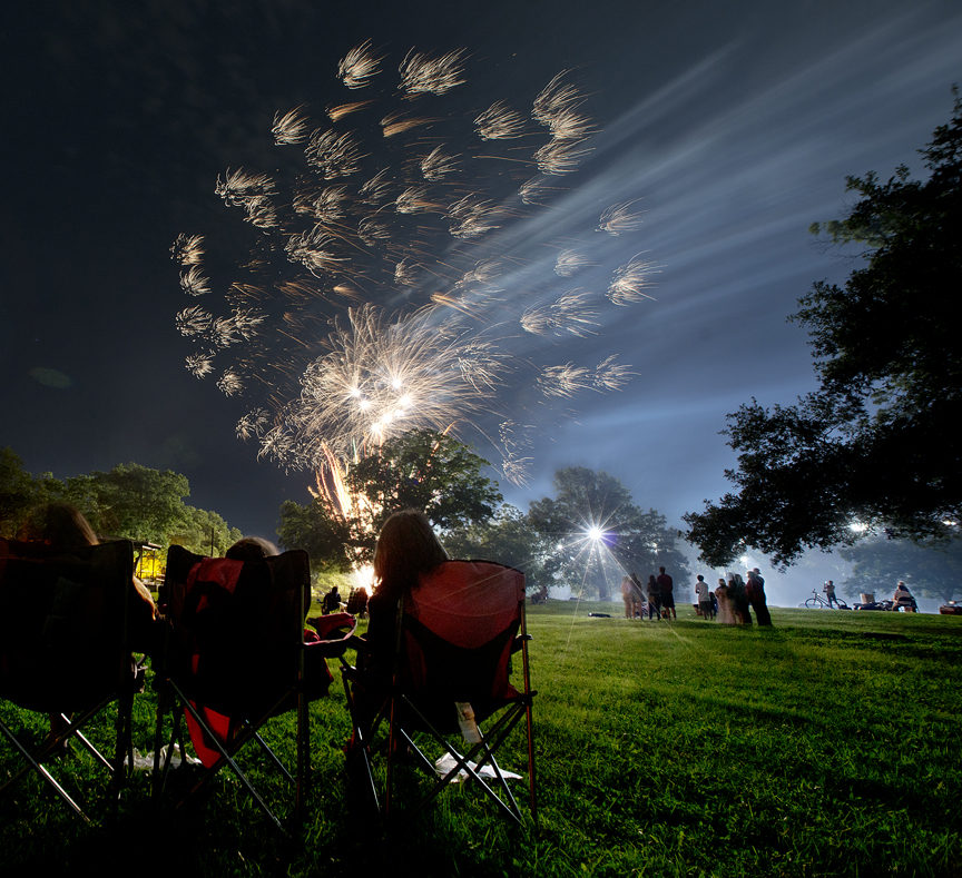 Fireworks show at Festival of the Arts in Georgetown, Texas.