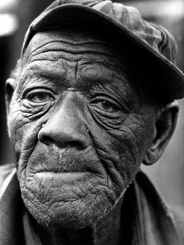The face of Henry Pierre, well into his 90s in this March 1975 photo in Hosston, Louisiana.