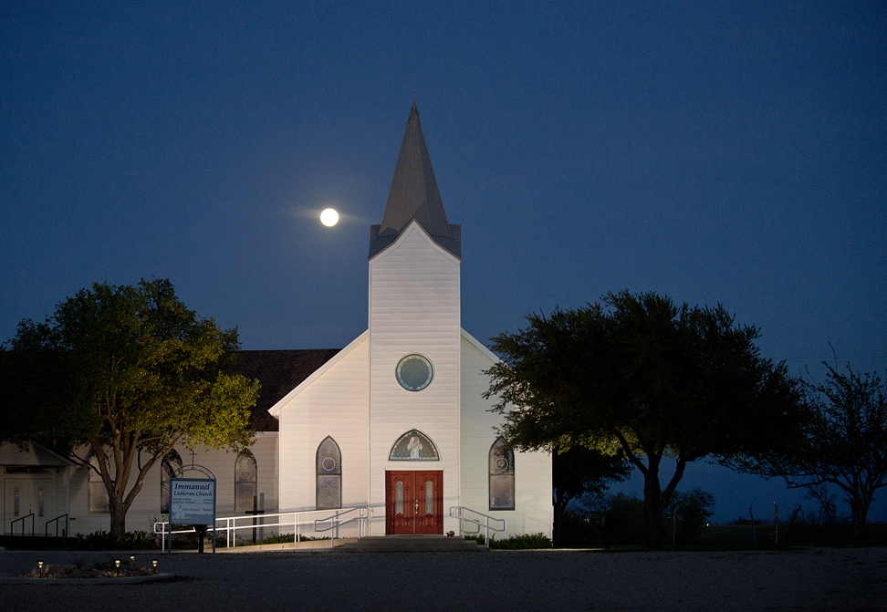 A Spring full moon over Immanuel Lutheran Church in Taylor, Texas.
