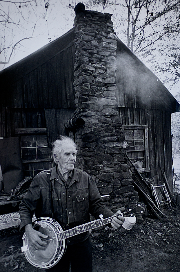 A mountain man plays his banjo in north Georgia in the mid-1980s.