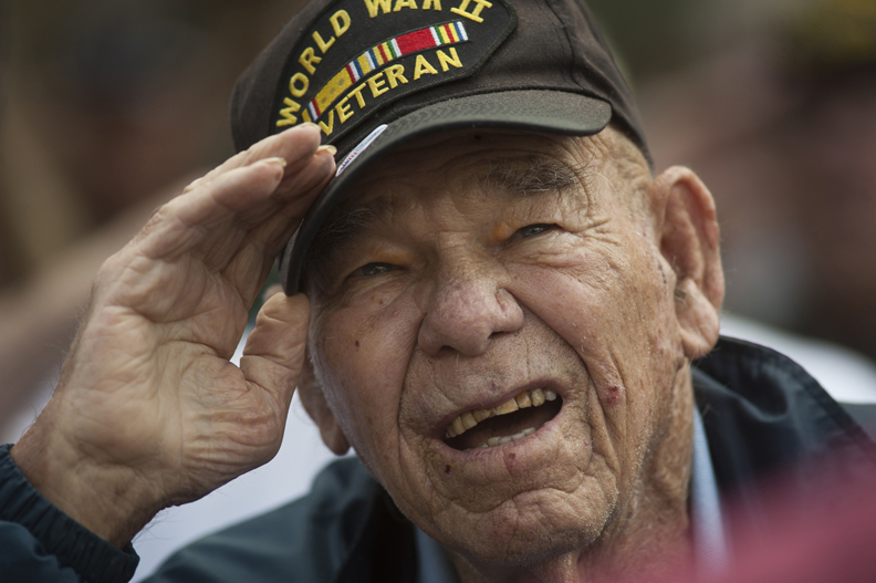 A World War II veteran at Sun City's Veterans Day commemoration.