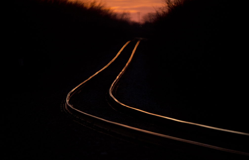 Train tracks at sunset in Taylor.